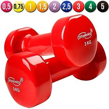 Physionics® HSTA25-6 - Juego de 2 mancuernas de vinilo - 2 x 3 Kg - Rojo: Amazon.es: Deportes y aire libre