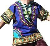 RaanPahMuang Brand Unisex Bright Colour Cotton Africa Dashiki Shirt Plain Front, X-Large, Blue