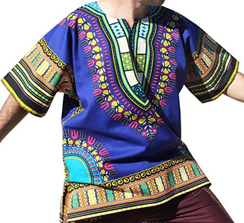 Raan Pah Muang RaanPahMuang Brand Unisex Bright Colour Cotton Africa Dashiki Shirt Plain Front, Large, Blue by Raan Pah Muang