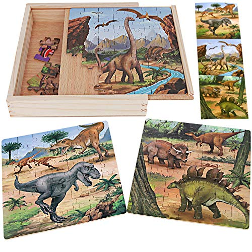 Sealive Dinosaur Jigsaw Puzzles in A Box, Three Wooden Blocks Toddler Games Construction Toys, 147 Pieces Dinosaur Train Activity Cube, Jurassic World Toys Dino Floor Puzzles for Kids Ages 4-8