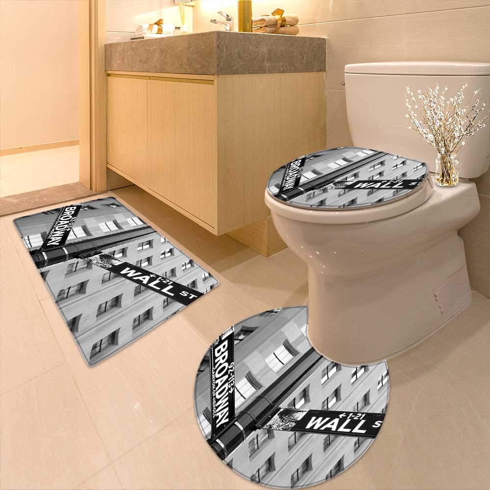 Printsonne Non Slip Bathroom Rugs Collection Street Signs Intersection Wall Street Broadway Finance Art Destinations Absorbent Cover