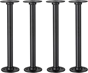 Industrial Pipe Table Legs 4Pack, Farmhouse Metal Pipes and Flanges for Custom Vintage Tables and Furniture, Rustic Iron Desk Leg Corner, Table Shelf Support, 12IN