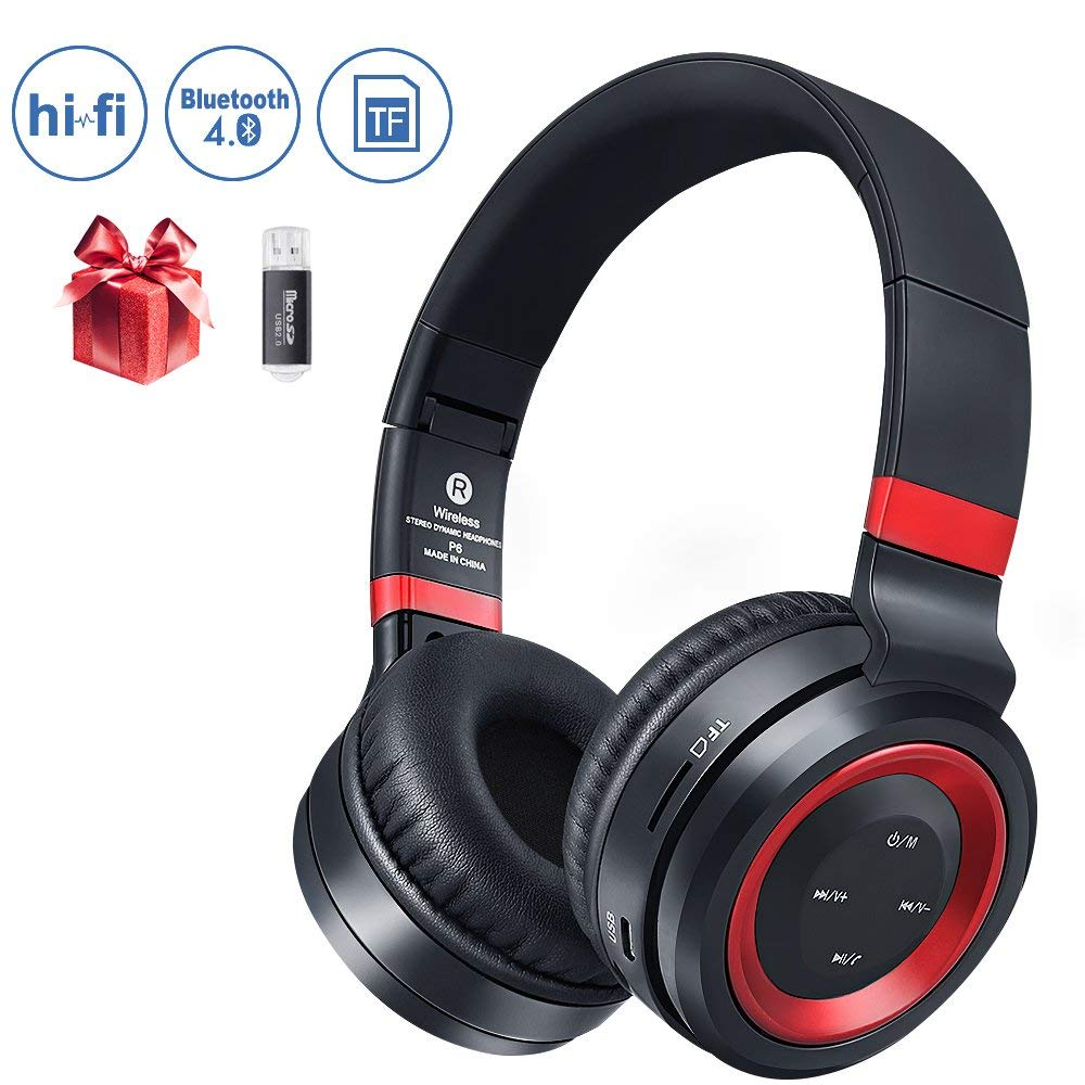 Bluetooth Headphones Over Ear,Foldable Hi-Fi Stereo Wireless Headset Included Card Reader Support Mic/TF Card and Wired Mode for PC/Cell Phones/TV (Red)