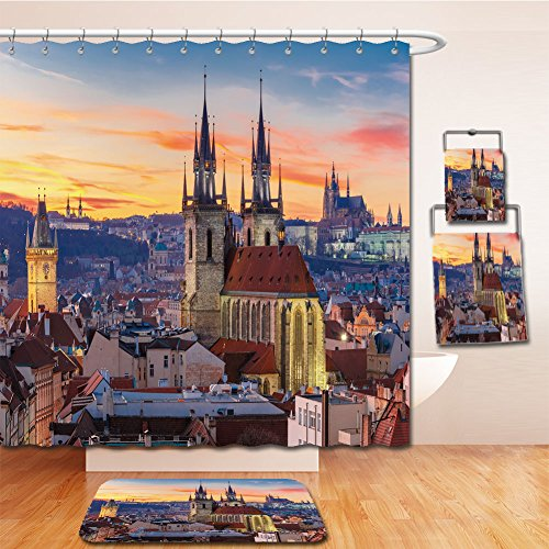 Beshowereb Bath Suit: Showercurtain Bathrug Bathtowel Handtowel aerial view over church of our lady before tyn old town and prague castle at sunset in prague - Rock Outlets At Castle