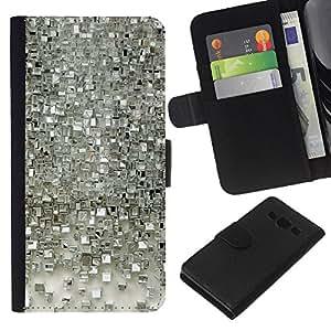 KLONGSHOP // Tirón de la caja Cartera de cuero con ranuras para tarjetas - Patrón Polígono reflectante de cristal - Samsung Galaxy A3 //