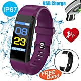 Symfury 0.96'' Color Screen Fitness Tracker with HR Blood Pressure Sleep Monitor IP67 Waterproof Men Women Wristband Kids SmartWatch Pedometer Sports Run GPS Activity Tracker Bluetooth (2 Purple)