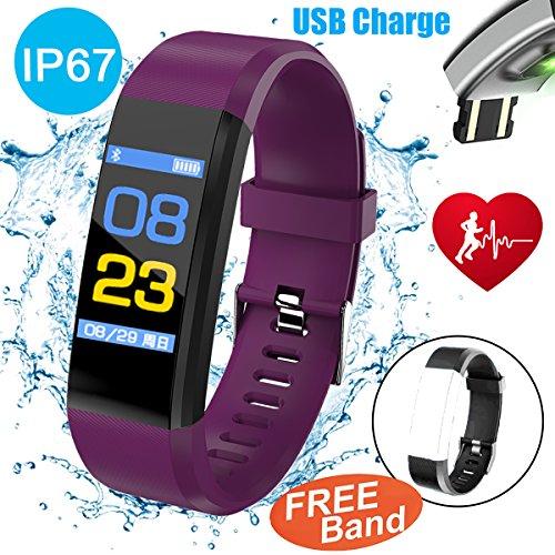 Symfury 0.96'' Color Screen Fitness Tracker with HR Blood Pressure Sleep Monitor IP67 Waterproof Men Women Wristband Kids SmartWatch Pedometer Sports Run GPS Activity Tracker Bluetooth (2 Purple) by Symfury