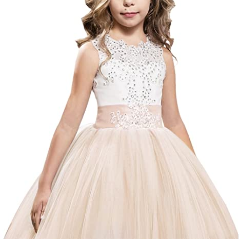 Amazon.com: OwlFay Flower Girls Vintage Lace Communion Dress Kids Princess Wedding Bridesmaid Long Maxi Tulle Gown Formal Party Dresses: Clothing