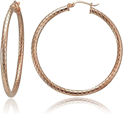 14k Gold Sparkly Diamond-Cut Hoop Earrings Small Sizes 2.5mm Thick