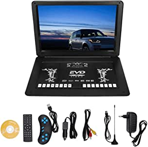 17-inch Mobile DVD Player, Portable Mini TV HD TFT Screen USB SD CD-Player Game (EU Plug)