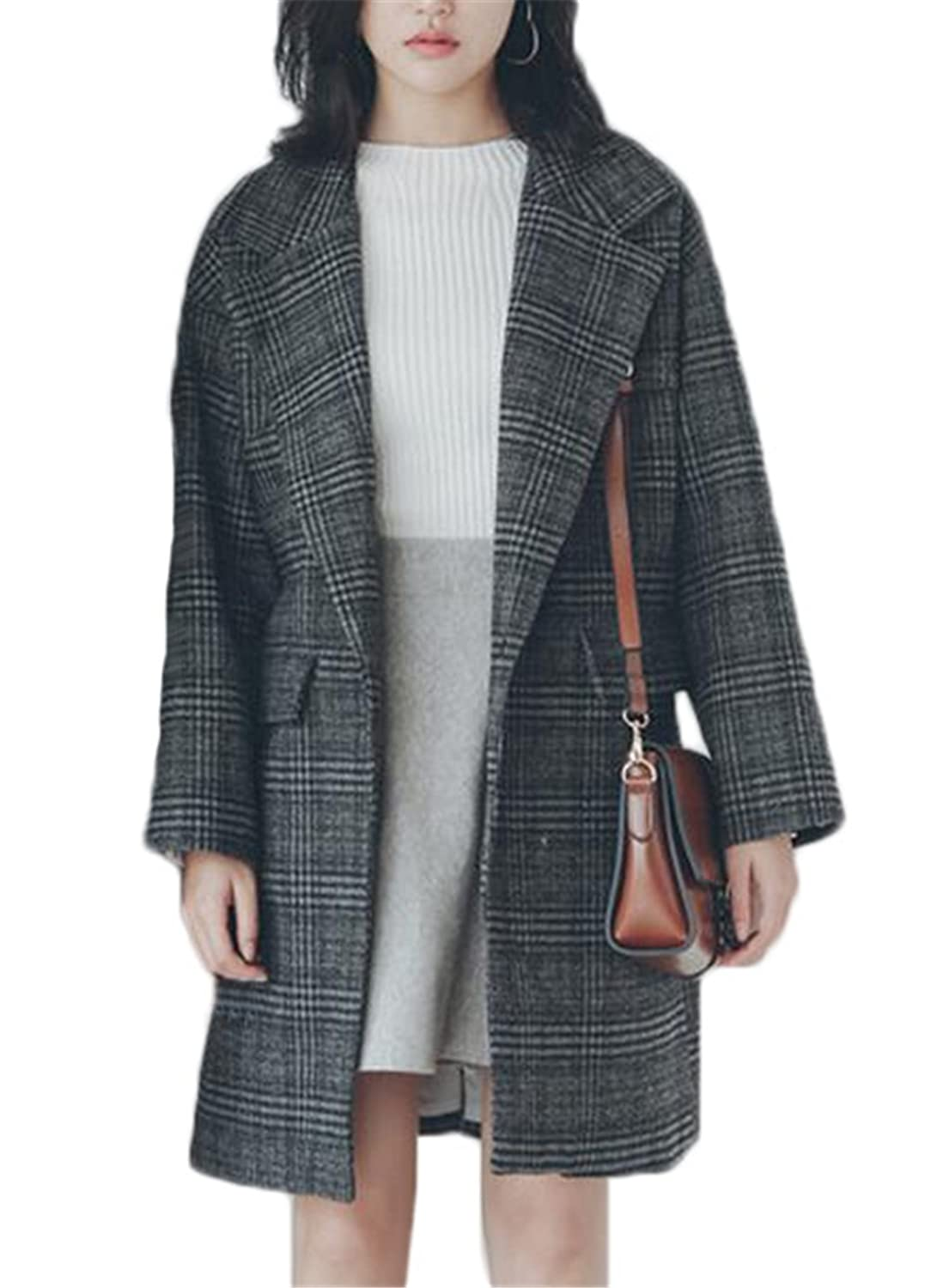 Women's Fashion Lattice Lapel Loose Outerwear Long Jacket Wool Coat