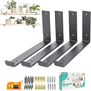 ORBETO L Shape Shelf Brackets 12 inch with Lip - Set of 4 Heavy Duty Metal for DIY Floating Shelves in Rustic Industrial Farmhouse Style - Hardware Included - Plus Magnetic Pocket Level - Black