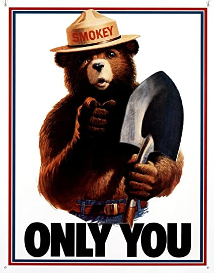 amazon com smokey bear only you tin sign 13 x 16in home kitchen