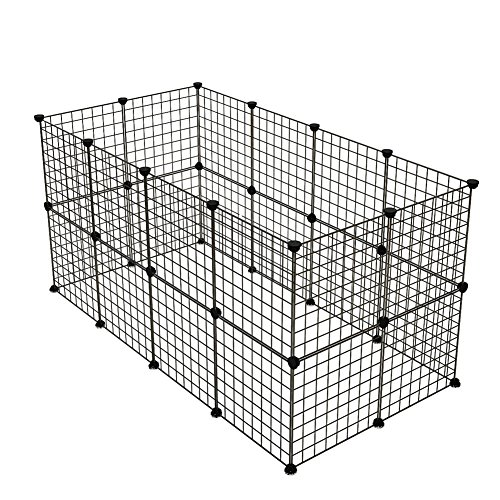(KOUSI Small Pet Pen Bunny Cage Dogs Playpen Indoor Out Door Animal Fence Puppy Guinea Pigs, Dwarf Rabbits (Black, 24 Panels))
