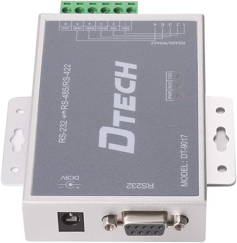 DTECH Bi-Directional Active RS232 to RS485 RS422 Serial Converter with DB9 to RJ45 Phoenix Contacts TX RX LEDs for Long Haul Data Communication DB9 Cable and Power Adapter Included