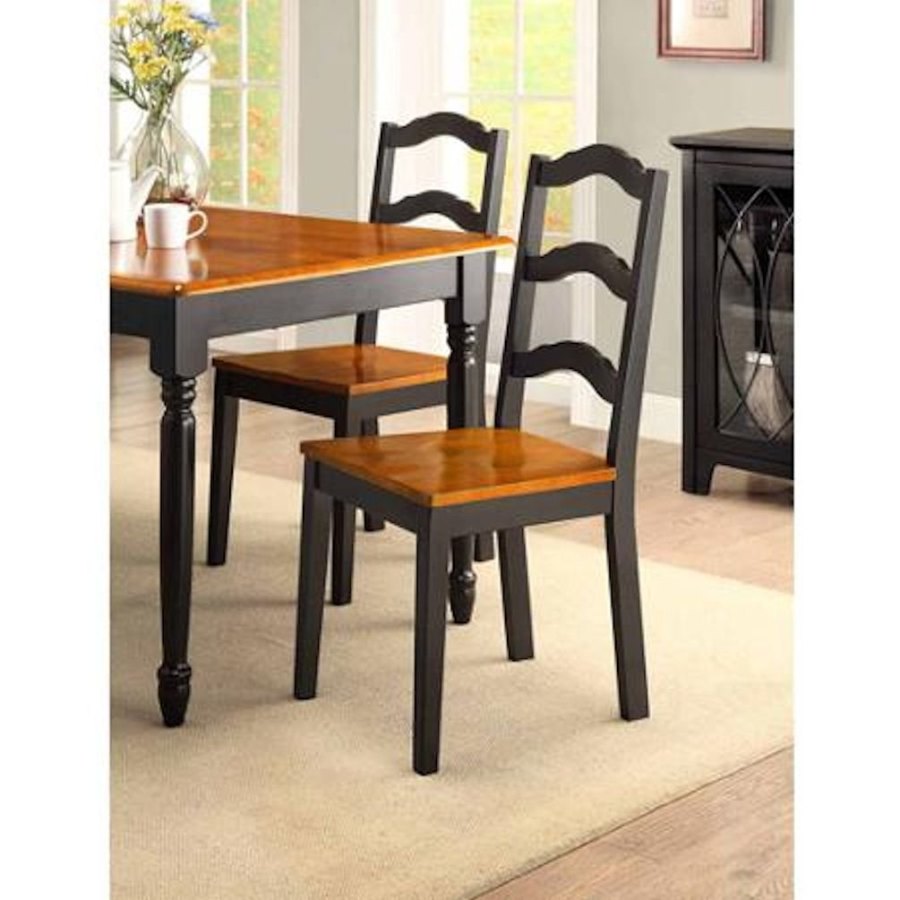 Amazon.com   Better Homes And Gardens Autumn Lane Table With Four Ladder  Back Dining Chairs Black And Oak For Great Meals And Dinners With Family  And ...
