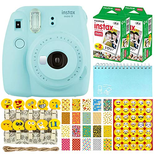 Fujifilm Instax Mini 9 Instant Camera (Ice Blue) + Fujifilm Instax Mini Twin Pack Instant Film (40 Shots) + Scrapbooking Album + 20 Sticker Frames Emoji Package + Emoji Photo Peg Pins + Stickers