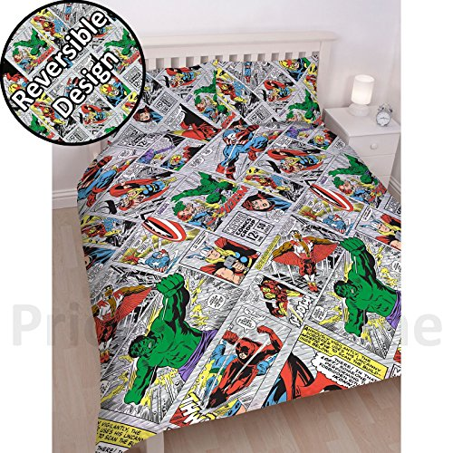Marvel Comics 'Retro' King Duvet Set - Repeat Print Design