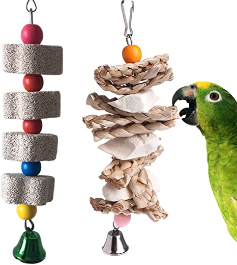 3 Pcs Chewing Bird Toy Hanging Cuttlebone Bite Toy Molar Toy Calcium Beak Grinding Cuttlebone for Balcony Cage Beige Balacoo Parrot Toy