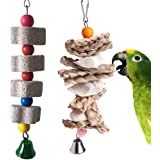 PINVNBY Parrot Toys Chewing Bird Toy Cuttlebone Beak Grinding Stone Cage Hanging Toys with Bell for African Greys Amazon Conure Eclectus Budgies Parakeet Cockatiel Hamster Chinchilla Rabbit, 2 Pack