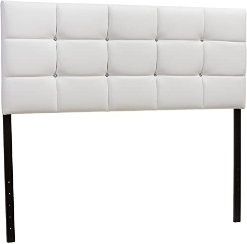 Baxton Studio Bordeaux Modern Contemporary Faux Leather Upholstered Button Tufted Column Headboard, Queen, White