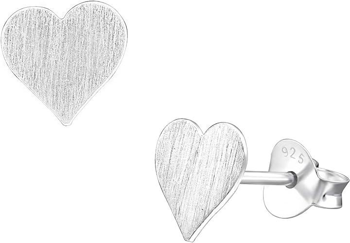 Ladies girls 925 sterling silver heart earrings solid stamped ear studs