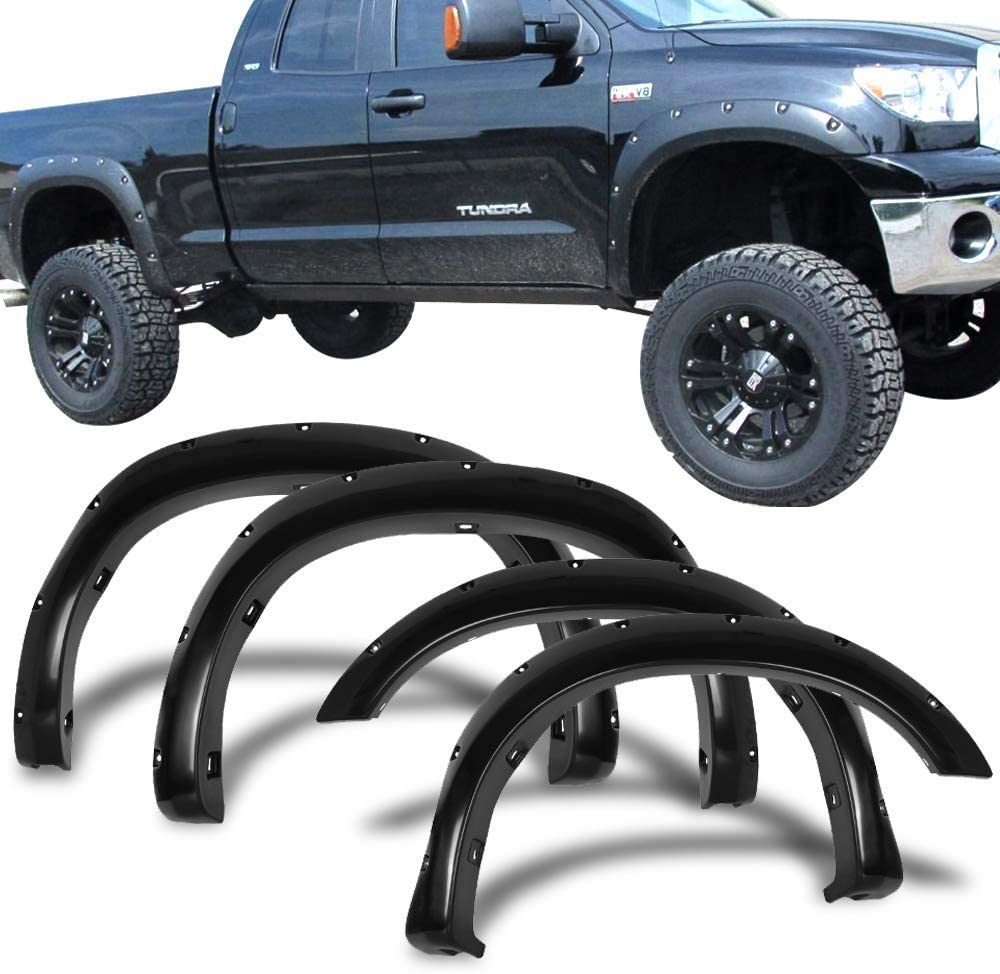 Amazon Com Fender Flares Compatible With 2007 2013 Toyota Tundra Black Abs Front Rear Right Left Wheel Cover Protector Vent Trim By Ikon Motorsports 2008 2009 2010 2011 2012 Automotive