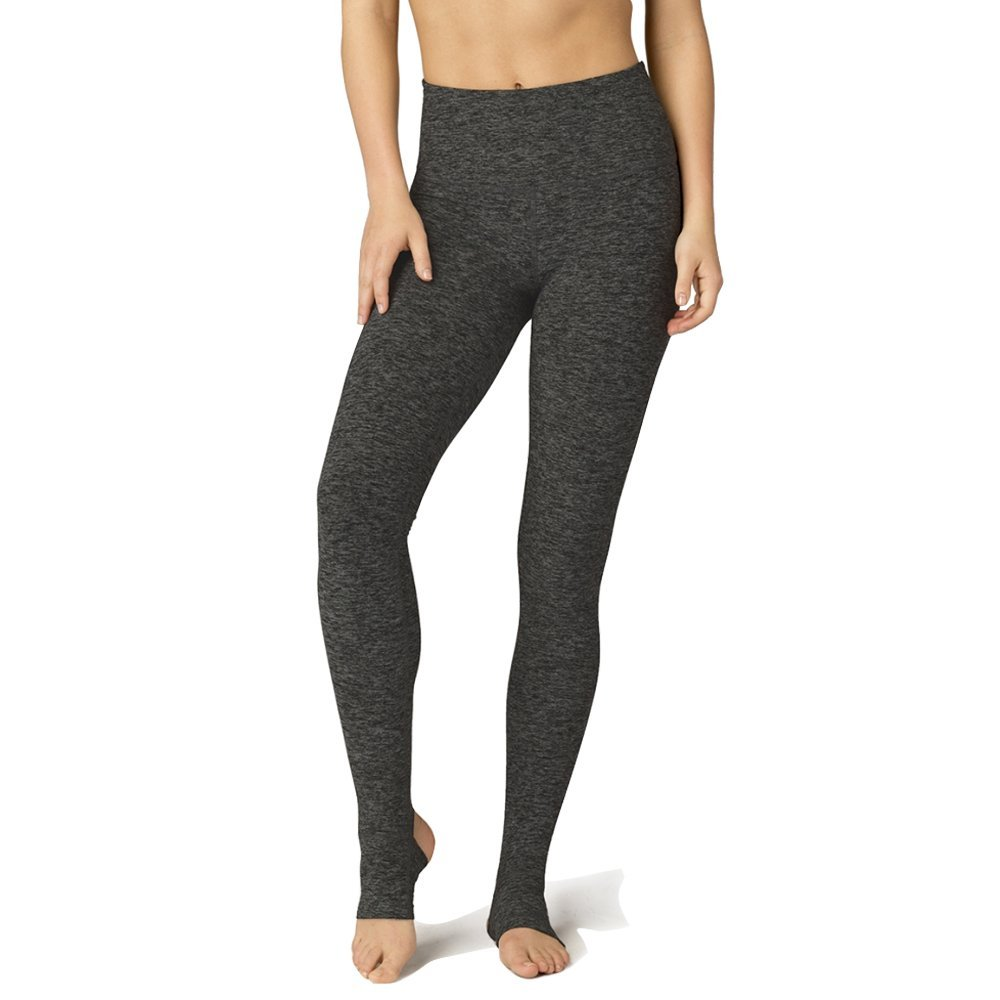 b77ef3efc5 Amazon.com : Beyond Yoga Women's Higher Ground Stirrup Legging (Black Space  Dye, L) : Clothing