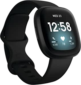 Fitbit Versa 3, Health & Fitness Smartwatch with GPS, 24/7 Heart Rate, Voice Assistant & up to 6+ Days Battery, Black/Black Aluminium