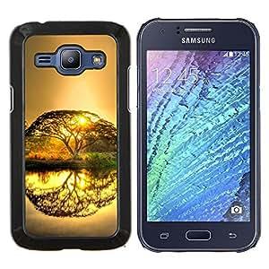 Árbol del resplandor del Sol- Metal de aluminio y de plástico duro Caja del teléfono - Negro - Samsung Galaxy J1 / J100
