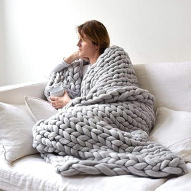 VIYEAR Chunky Knit Blanket Soft Handmade Knitting Throw for Bedroom Sofa Decor Super Large, Gray, 40  x 40