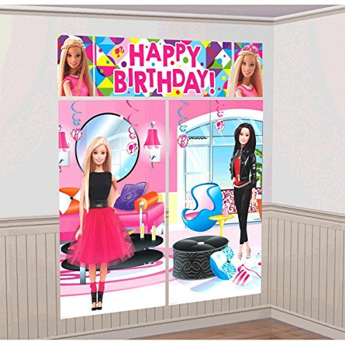 Birthday Party Scene - Barbie Sparkle Kids Party Scene Setter Wall Decorations Kit - Kids Birthday and Party Supplies Decoration