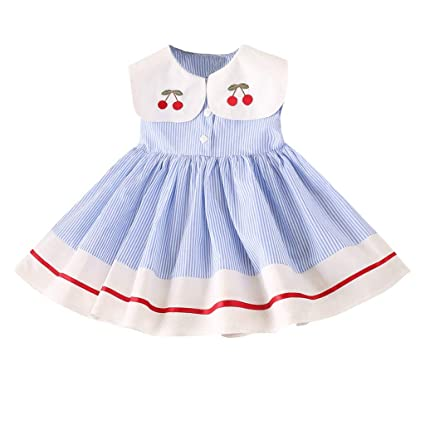 e981b566db7f4 Amazon.com: Princess Dress Ceremony For Babies Girls Doll Collar Embroidery  Cherry Stripe Ball Gowns Wedding Birthday Party Sleeveless Toponly:  Appliances
