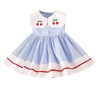 0e96b37b85682 Robe De Fille ADESHOP Mode Enfant BéBé Filles Cerise Broderie Rayure sans  Manches Mignon Col De ...