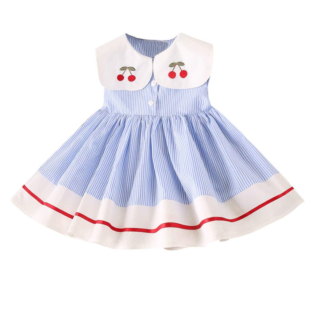 pengchengxinmiao Toddler Kids Baby Girls Princess Dress Sleeveless Cherry Embroidery Cotton Stripe Party Birthday Casual Dresses Clothes (Blue, 90)