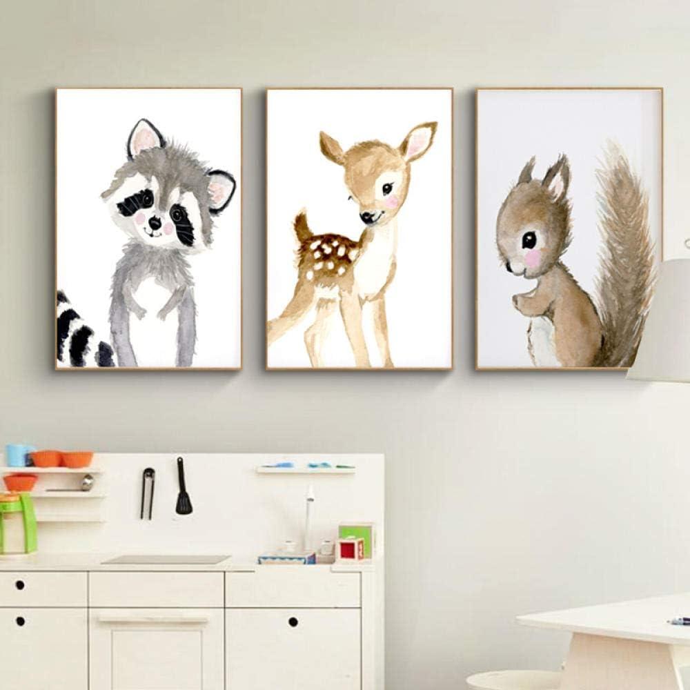 Vivero Arbolado Conejo Ciervo Lienzo Pintura Bebé Animal Carteles Impresiones Cuadros Moderno Vivir Habitación Pared Arte Decoración 40x60cmx3 No Marco