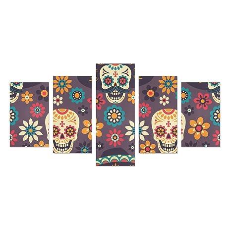 Amazoncom Sugar Skull Dia De Los Muertos 5 Piece Wall Art Painting