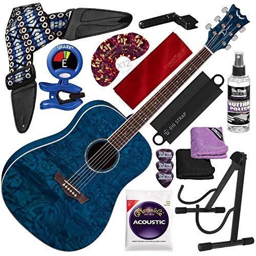 Dean AXS DREAD QUILT ASH Acoustic Guitar, Trans Blue with Guitar Strap and Massaging Shoulder Strap Attachment + Complete Guitar Accessory Bundle (Dean Ax Dqa Acoustic Guitar)