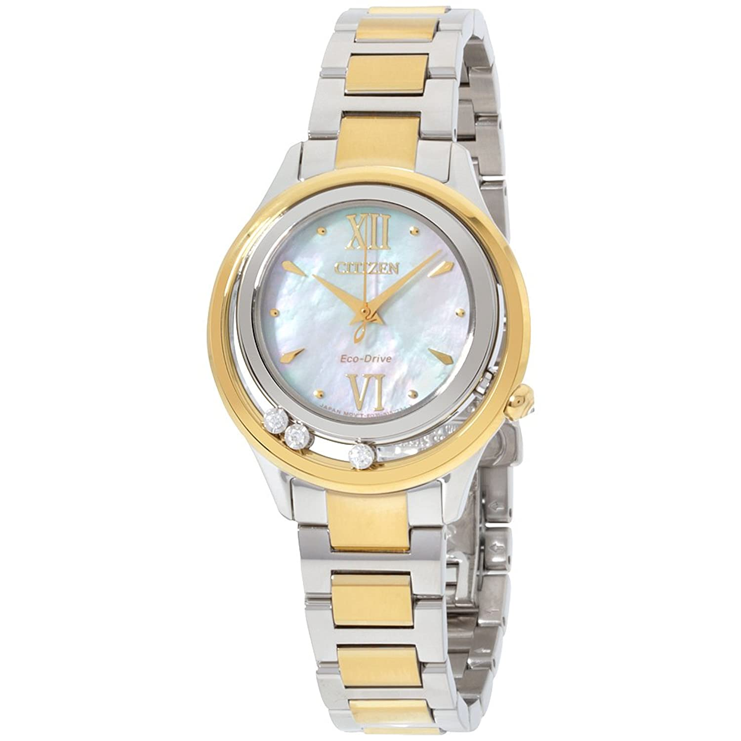 Amazon.com: Citizen L Sunrise LS Mother of Pearl Dial Diamond Stainless  Steel Ladies Watch EM0514-52DXG (Certified Refurbished): Citizen: Watches
