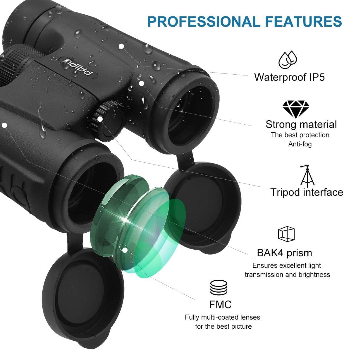 Le tir Objectif FMC id/éales pour lobservation des Oiseaux Jumelles Compactes HD avec Prisme BAK4 Jumelles Adultes Puissante la Chasse 12x42 Jumelles antibu/ée et /étanche