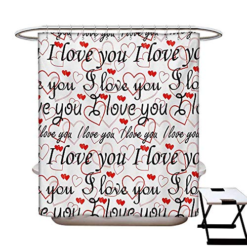 BlountDecor I Love You Shower Curtains with Shower Hooks Beauty of Valentines Birthday Forever Never Let Me Go Happiness Theme Fabric Bathroom Set with Hooks W54 x L78 Red Black White