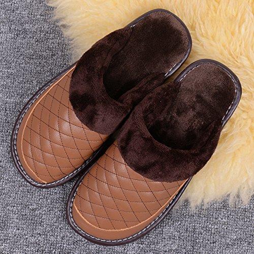 CWAIXXZZ pantofole morbide In pelle di pantofole di cotone home camere interne sono caldi calzature invernali tendine di vacca tra gli uomini e le donne per la ,29=43/44 codice, giallo bruno