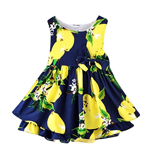 4597cf53ea659 Moonker Girls Dresses,Kids Toddler Baby Girls Summer Lemon Cartoon Print  Bowknot Casual Princess Dress