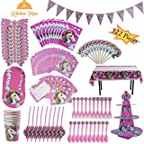 Unicorn Party Supplies Kit - Magical Rainbow Theme Cupcake Set (for Kids Or Adults, 122 Pieces, Serves 10, Includes Cupcake Stand) by Kitchen Fox