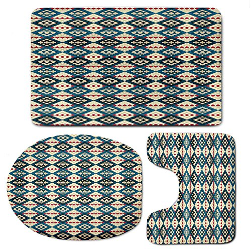 (3-Piece Bath Mat Set Bath Rug Set,Native American Decorfor Kitchen, Shower, and Toilet,Ethnic Braided Carpet View Mosaic Tribal)