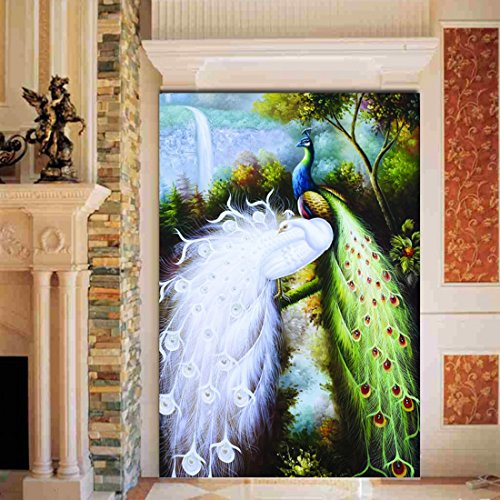 Colomac Southeast Asian Style Living Room TV Wall Mural Wallpaper Green Peacock White Peacock Wallpaper 157.4 Inch x 78.7 Inch