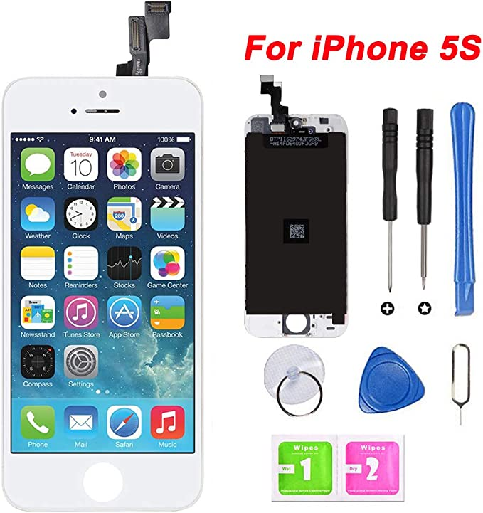 White LCD Display Touch Screen Digitizer Full Assembly with Tools for iPhone 5S