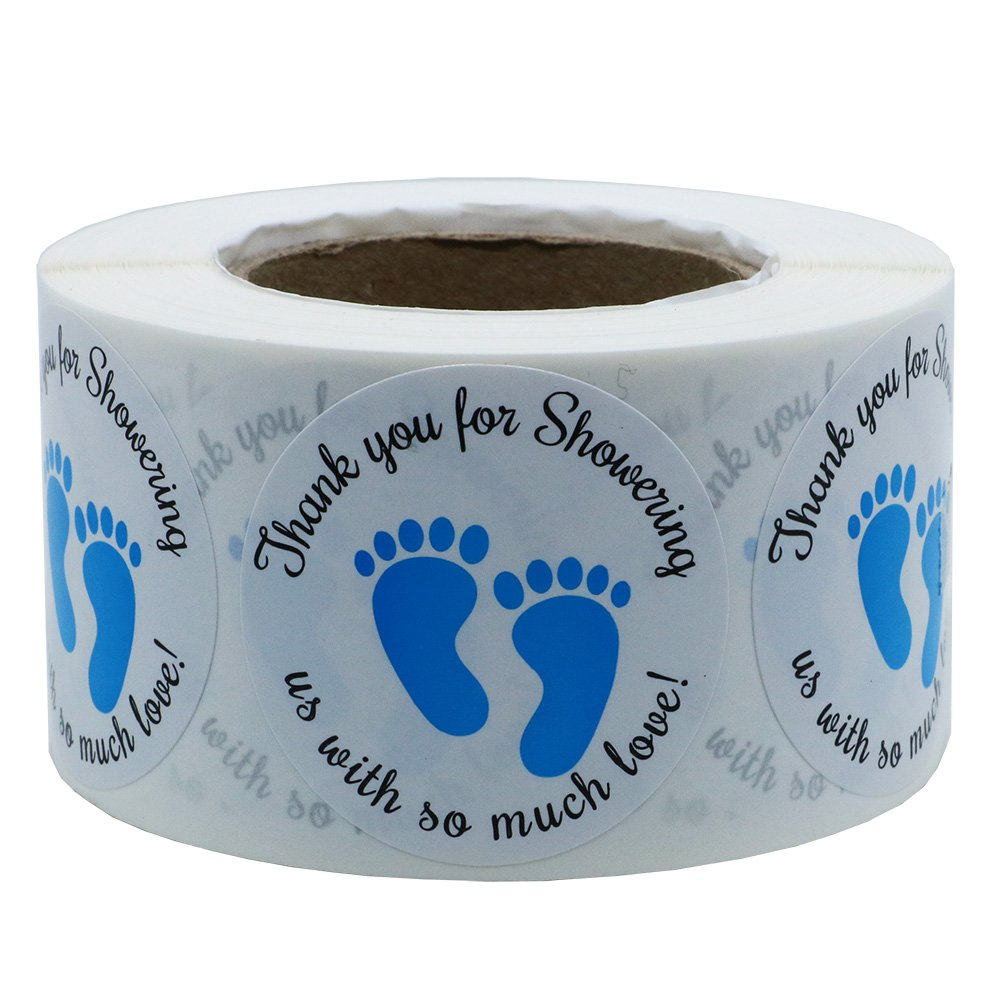 Hybsk 1.5 Inch Round Baby Shower Stickers, Thank You for Showering Us with So Much Love Blue Foot Print Total 500 Labels Per Roll