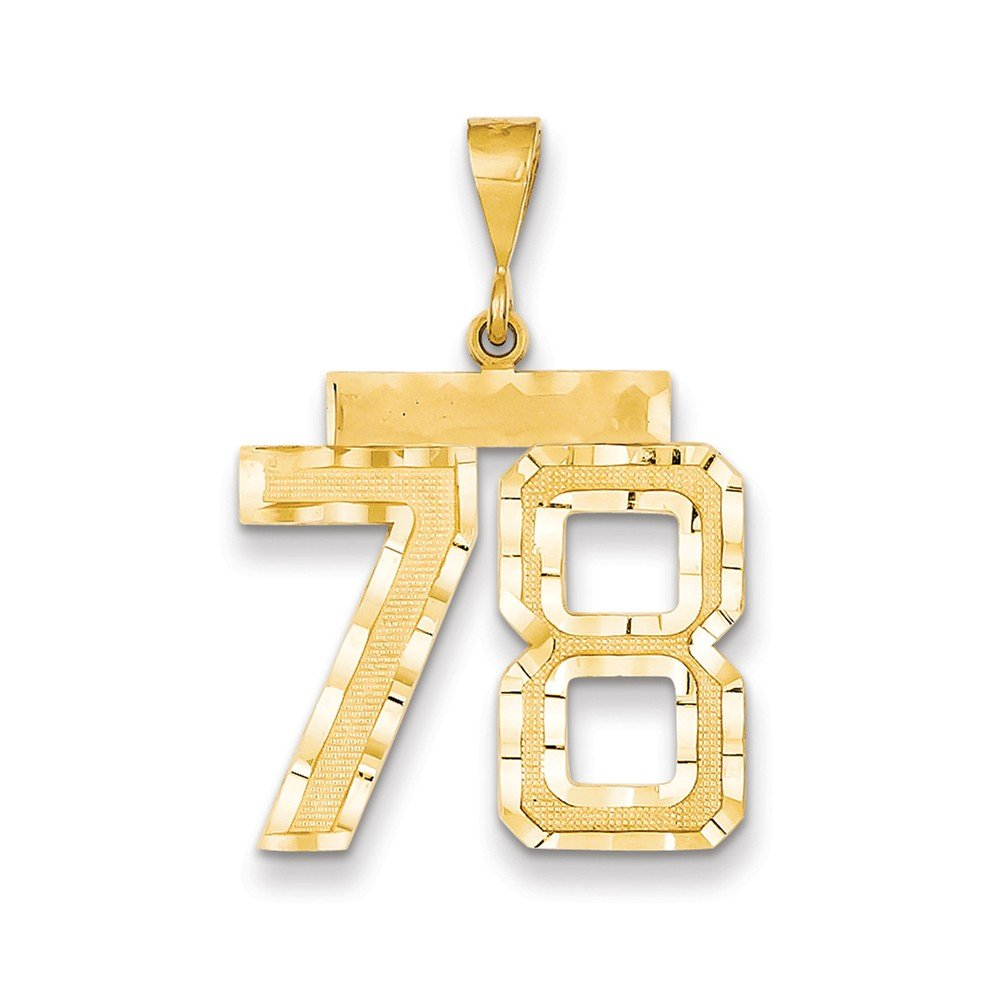 Perfect Jewelry Gift 14k Large Diamond-cut Number 78 Charm