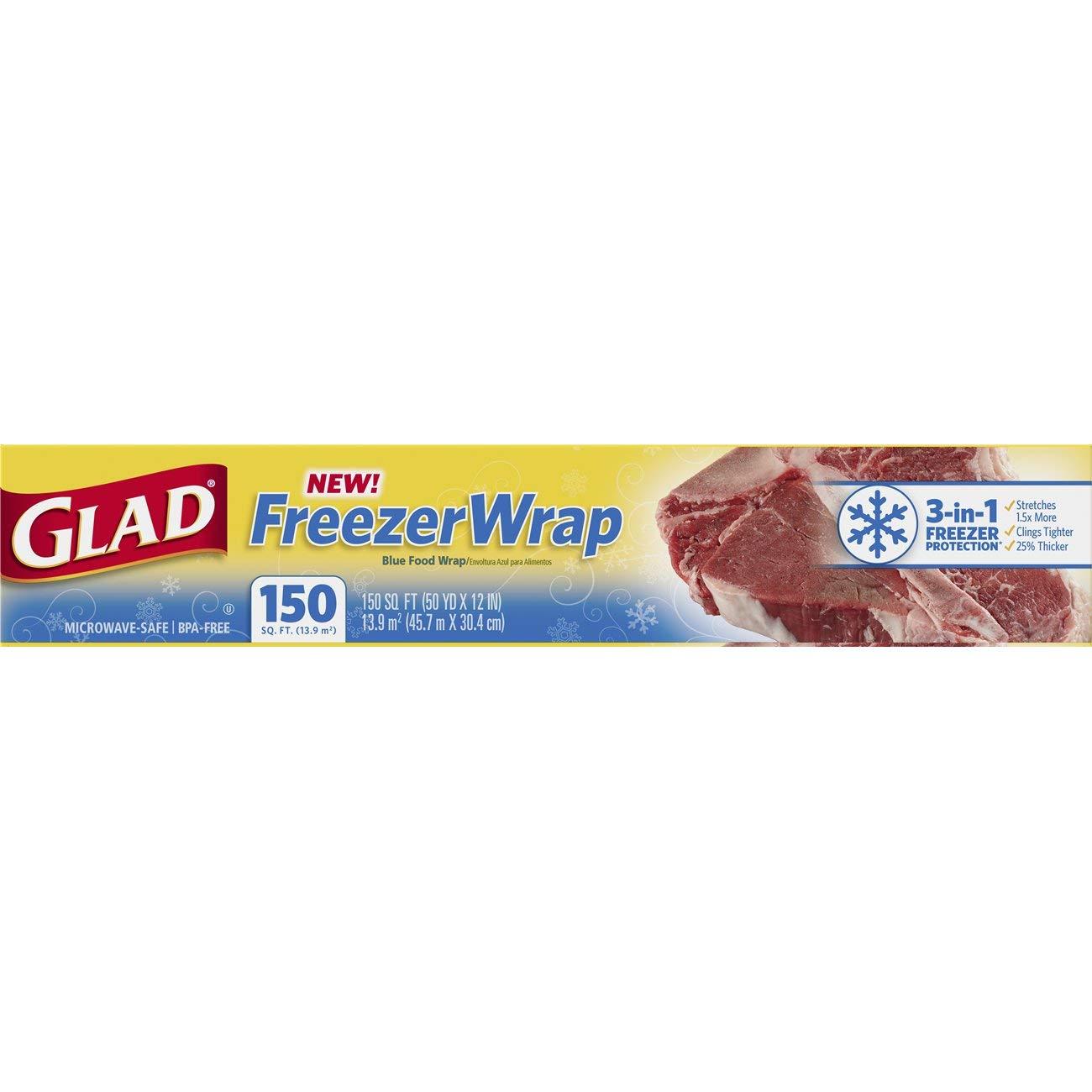 Amazon.com: Glad FreezerWrap Plastic Food Wrap - 150 Square Foot ...
